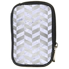 Chevron1 White Marble & Silver Brushed Metal Compact Camera Cases by trendistuff