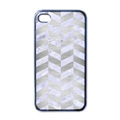 Chevron1 White Marble & Silver Brushed Metal Apple Iphone 4 Case (black) by trendistuff