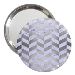 Chevron1 White Marble & Silver Brushed Metal 3  Handbag Mirrors by trendistuff