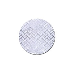 Brick2 White Marble & Silver Brushed Metal (r) Golf Ball Marker (4 Pack) by trendistuff
