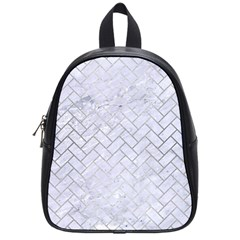 Brick2 White Marble & Silver Brushed Metal (r) School Bag (small) by trendistuff