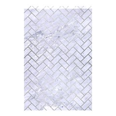 Brick2 White Marble & Silver Brushed Metal (r) Shower Curtain 48  X 72  (small)  by trendistuff