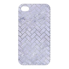 Brick2 White Marble & Silver Brushed Metal (r) Apple Iphone 4/4s Hardshell Case by trendistuff