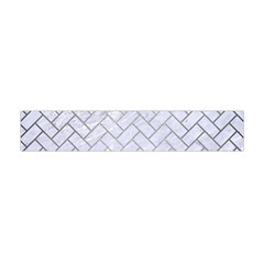 Brick2 White Marble & Silver Brushed Metal (r) Flano Scarf (mini) by trendistuff