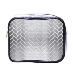 Brick2 White Marble & Silver Brushed Metal Mini Toiletries Bags by trendistuff