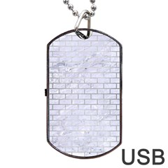 Brick1 White Marble & Silver Brushed Metal (r) Dog Tag Usb Flash (one Side) by trendistuff