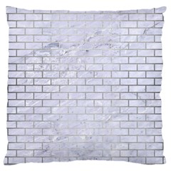 Brick1 White Marble & Silver Brushed Metal (r) Large Cushion Case (two Sides) by trendistuff