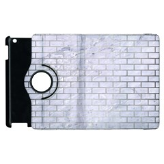 Brick1 White Marble & Silver Brushed Metal (r) Apple Ipad 3/4 Flip 360 Case by trendistuff