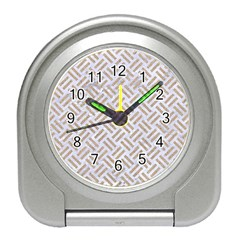 Woven2 White Marble & Sand (r) Travel Alarm Clocks by trendistuff