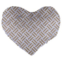 Woven2 White Marble & Sand (r) Large 19  Premium Heart Shape Cushions by trendistuff