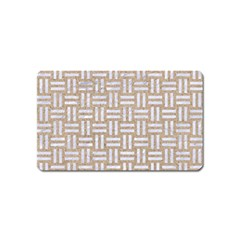 Woven1 White Marble & Sand Magnet (name Card) by trendistuff