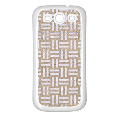 Woven1 White Marble & Sand Samsung Galaxy S3 Back Case (white) by trendistuff