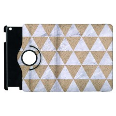 Triangle3 White Marble & Sand Apple Ipad 3/4 Flip 360 Case by trendistuff