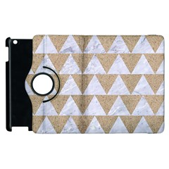 Triangle2 White Marble & Sand Apple Ipad 3/4 Flip 360 Case by trendistuff