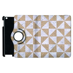 Triangle1 White Marble & Sand Apple Ipad 3/4 Flip 360 Case by trendistuff
