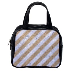 Stripes3 White Marble & Sand (r) Classic Handbags (one Side) by trendistuff