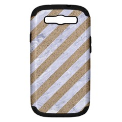 Stripes3 White Marble & Sand (r) Samsung Galaxy S Iii Hardshell Case (pc+silicone) by trendistuff
