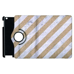 Stripes3 White Marble & Sand (r) Apple Ipad 3/4 Flip 360 Case by trendistuff