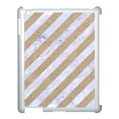 Stripes3 White Marble & Sand (r) Apple Ipad 3/4 Case (white) by trendistuff
