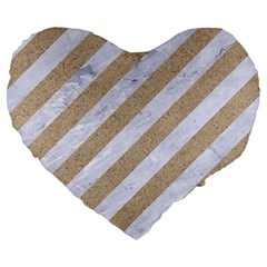 Stripes3 White Marble & Sand (r) Large 19  Premium Heart Shape Cushions by trendistuff