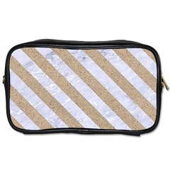 Stripes3 White Marble & Sand Toiletries Bags by trendistuff