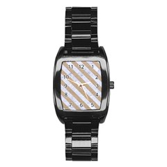 Stripes3 White Marble & Sand Stainless Steel Barrel Watch by trendistuff
