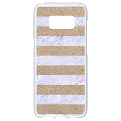 Stripes2white Marble & Sand Samsung Galaxy S8 White Seamless Case by trendistuff