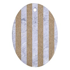 Stripes1 White Marble & Sand Ornament (oval)