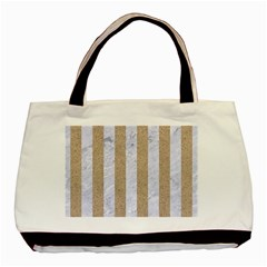 Stripes1 White Marble & Sand Basic Tote Bag by trendistuff