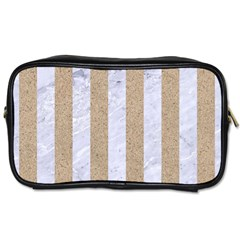 Stripes1 White Marble & Sand Toiletries Bags by trendistuff