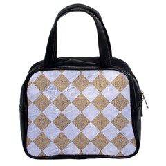 Square2 White Marble & Sand Classic Handbags (2 Sides) by trendistuff