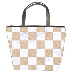 Square1 White Marble & Sand Bucket Bags by trendistuff