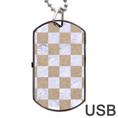 Square1 White Marble & Sand Dog Tag Usb Flash (one Side) by trendistuff