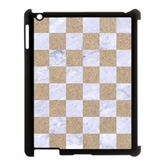 Square1 White Marble & Sand Apple Ipad 3/4 Case (black) by trendistuff