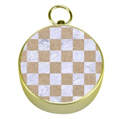 Square1 White Marble & Sand Gold Compasses