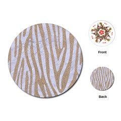 Skin4 White Marble & Sand (r) Playing Cards (round)  by trendistuff