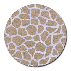 Skin1 White Marble & Sand (r) Round Mousepads by trendistuff