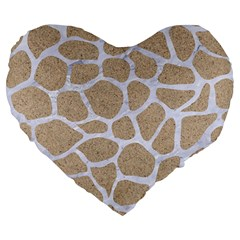 Skin1 White Marble & Sand (r) Large 19  Premium Flano Heart Shape Cushions by trendistuff