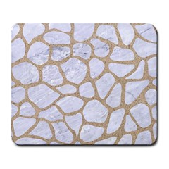Skin1 White Marble & Sand Large Mousepads by trendistuff