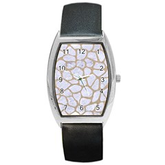 Skin1 White Marble & Sand Barrel Style Metal Watch by trendistuff