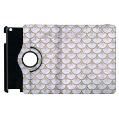 Scales3 White Marble & Sand (r) Apple Ipad 2 Flip 360 Case by trendistuff