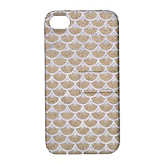 Scales3 White Marble & Sand Apple Iphone 4/4s Hardshell Case With Stand by trendistuff