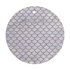 Scales1 White Marble & Sand (r) Round Ornament (two Sides) by trendistuff