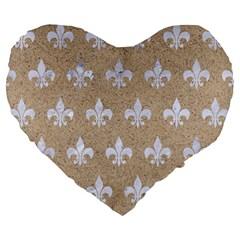 Royal1 White Marble & Sand (r) Large 19  Premium Heart Shape Cushions by trendistuff