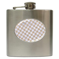 Houndstooth2 White Marble & Sand Hip Flask (6 Oz) by trendistuff