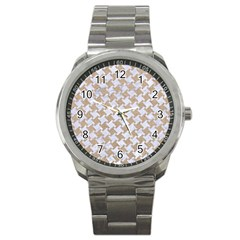 Houndstooth2 White Marble & Sand Sport Metal Watch by trendistuff