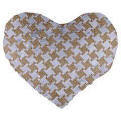 Houndstooth2 White Marble & Sand Large 19  Premium Heart Shape Cushions by trendistuff