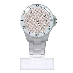 Houndstooth2 White Marble & Sand Plastic Nurses Watch by trendistuff