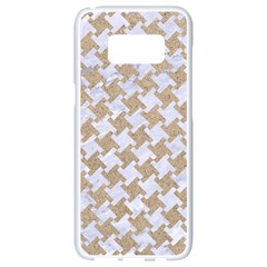Houndstooth2 White Marble & Sand Samsung Galaxy S8 White Seamless Case by trendistuff