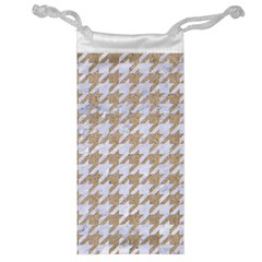 Houndstooth1 White Marble & Sand Jewelry Bag by trendistuff